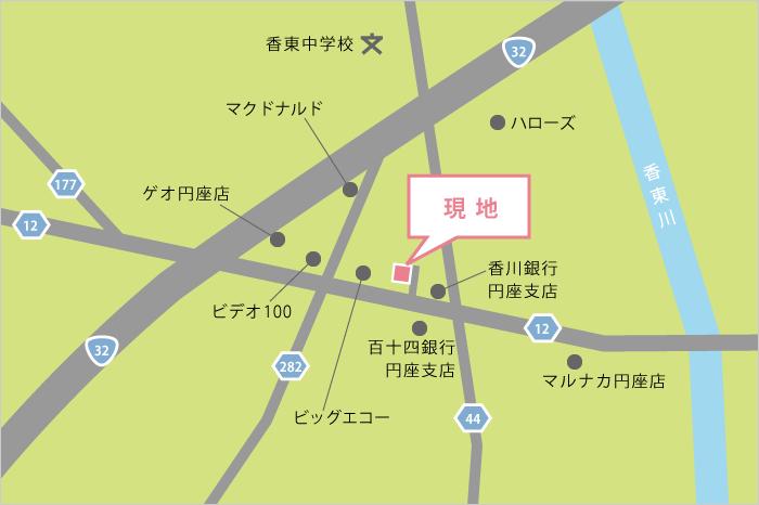 地図 - 分譲地~高松市円座町~「ICOI-まち円座北」